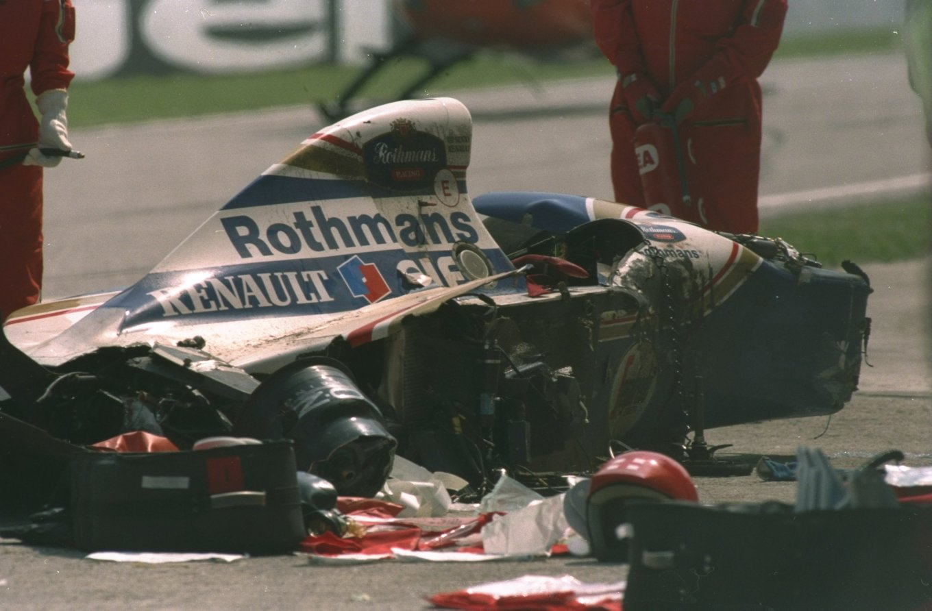 Ayrton Senna's wrecked Williams Renault